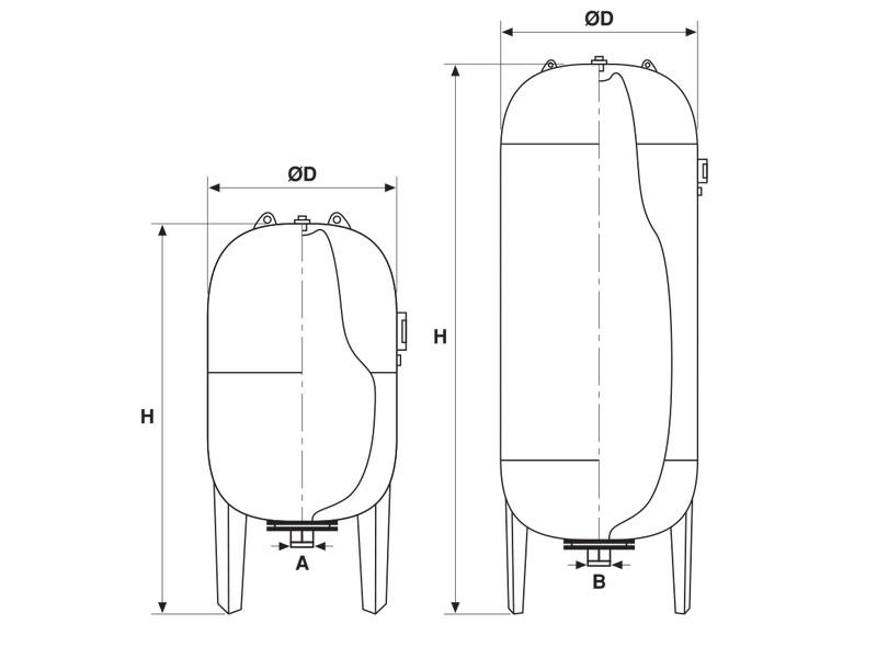 Kapalı Genleşme Tankı teknik çizim
